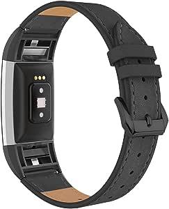 Simpeak 适用于 Fitbit Charge 2 皮带,适用于 Fitbit Charge 2 的真皮表带,黑色/白色/米色/棕色/金色/粉色/紫色/红色/灰色