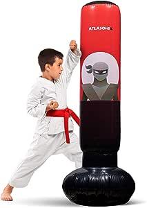 充气儿童拳击袋 - 自由站立的忍者拳击袋用于立即弹跳练习空手道,跆拳道,综合格斗和缓解儿童和成人的能量/高 5 英尺 3 英寸