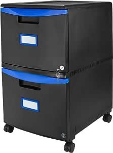 Storex 塑料 1 抽屉移动文件柜 2-Drawer, All-Steel Lock & Key 黑色/蓝色