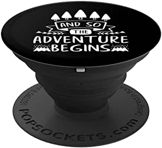 And So The Adventure Begins 户外山地登山 PopSockets 手机和平板电脑握架260027  黑色