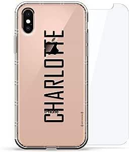 豪华设计师,3D 印花,时尚气袋垫,360 度玻璃保护套装手机壳 iPhoneLUX-IXAIR360-NMCHARLOTTE2 NAME: CHARLOTTE, MODERN FONT STYLE 透明