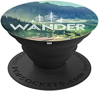 Wander Forest Adventure Quote Mountain Road Nature Magick - PopSockets 手机和平板电脑抓握支架260027  黑色