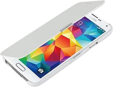 S5 手机壳,Galaxy S5 手机壳,MTRONX Window View 磁扣超对翻盖修身 PU 皮保护套适用于三星 Galaxy S5 白色