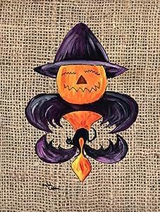 Halloween Pumpkin Bat Fleur de lis Flag 多色 大