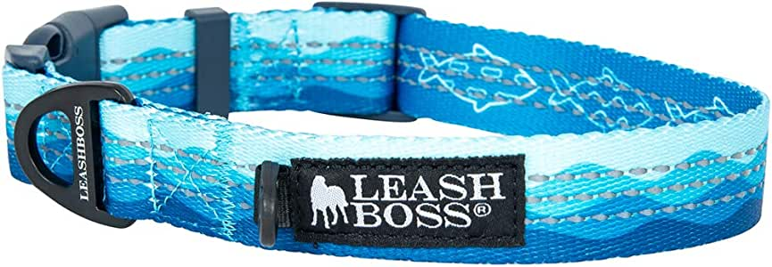 "Leashboss 图案反光狗项圈,图案系列,彩色狗项圈带三重反光线,适合小型、中型和大型犬 Small (11.5-16"" Neck x 3/4"" Wide)"