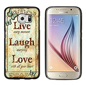 """Galaxy S6 Case, Laser Technology for Protective Samsung Galaxy S6 Case Black DOO UC (TM) - Retro butterfly pattern """"Live Laugh Love"""""""