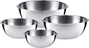 WMF 福腾宝 餐碗套装 4件套 厨具碗 Cromargan抛光不锈钢 0.75 l - 2.75 l,可作为搅拌碗,色拉碗,上菜碗,可叠放