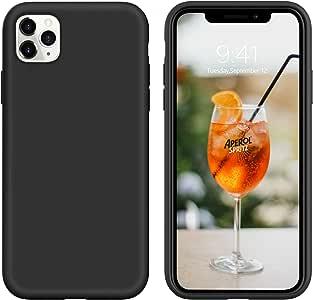 BENTOBEN iPhone 11 Pro Max 手机壳黑色硅胶,2019 纤薄软橡胶手机壳防滑防震保护混合硬背缓冲耐用男式男孩手机壳适用于 iPhone 11 Pro Max 6.5 英寸 K709-Black