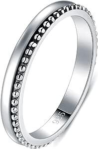 BORUO 925 纯银戒指高抛光细串珠 Bali 可叠层抗锈蚀订婚结婚戒指 2mm 戒指 4-12