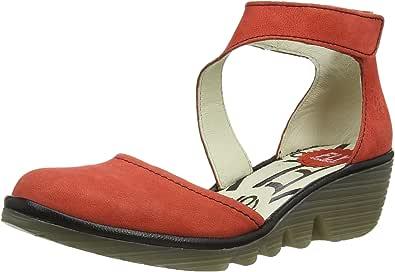FLY LONDON PLUM 女 低跟鞋PIAT P500466029 鲜红/黑 36 (EU 36) (亚马逊进口直采,葡萄牙品牌)