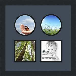 ArtToFrames 拼贴相框双垫带 4 个开口和缎面黑色框架。 Blue Jay 4-5x5 Double-Multimat-621-586/89-FRBW26079