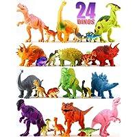 24 只恐龙玩具 - 彩色教育套装 12 大型 7 英寸和 12 英寸迷你 1 英寸塑料逼真公仔和玩具套装 - T-rex Spinosaurus Triceratops & More - 儿童派对礼物 男孩和女孩年龄 3 岁以上礼物