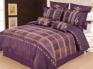 Luxor Treasures 麦迪逊羽绒被套套装,超细纤维,*红色,大号双人床,7 件 紫色 King MADISON 7PC KG PR