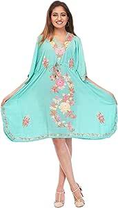 Creativegifts 女式棉质 Kashmiri 长袍刺绣短款连衣裙沙滩罩衫  Dx001fiuk25 Free Size