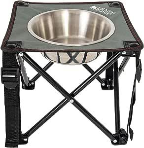 Leashboss 野营喂食器单个户外高架狗碗,10.5 英寸(约 26.67 厘米)旅行凸起式狗狗喂食器,适用于中型和大型犬,包括 2 夸脱(约 6.7 毫升)不锈钢碗 灰/红/黑 10.5 Inch