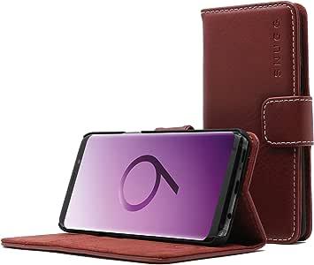 Galaxy S9 Plus 手机壳,Snugg 板灰皮革翻盖手机壳【卡槽】高层三星 Galaxy S9 Plus 钱包手机壳和支架【*】 - 传统系列 S9 Dusty Cedar Red
