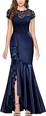 MISSMAY 女式复古全蕾丝撞色喇叭袖正式长裙 D - *蓝 Medium