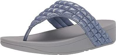 Fitflop 女式 Lulu 衬垫闪亮麂皮鞋头夹趾凉鞋