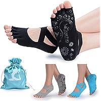 Muezna 女式防滑瑜伽袜,无脚趾防滑普拉提,芭蕾,芭蕾,Bikram 健身袜带手柄