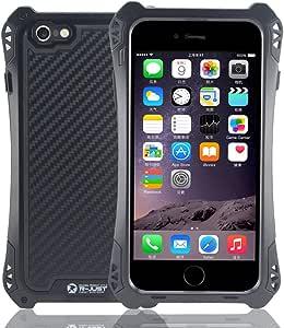 金属手机*壳 - *结实的手机*装甲防护壳 - 增强防摔 - 极限防震 - 高级防水技能 - 防刮屏幕保护膜 - 获*独立设计 - 适用于 Apple 5.5 英寸 Iphone 6 Plus4326603423 全黑