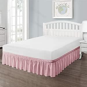 QSY 家用环绕式弹力纯色床裙 45.72 cm 垂落式床裙 三面面料 易穿易脱 可调节涤纶棉(粉色单人床/全尺寸)
