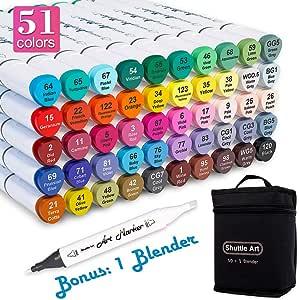 Shuttle Art 50 色双头艺术记号笔,永久记号笔亮光笔带盒,完美用于插图成人绘画素描和制作卡片