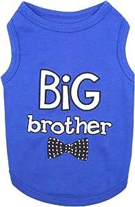 Parisian 宠物狗猫衣服 T 恤 Mommy's Boy, Daddy's Girl, Big Brother, Big Sister, Little Brother, Little Sister, I Love Mommy, I Love Daddy 蓝色 L