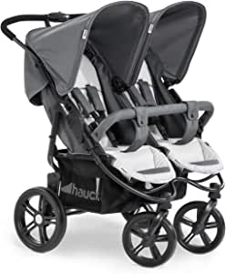 Hauck Roadster Duo SLX 兄弟姐妹/双胞胎婴儿车,适用于婴儿和幼儿,相邻,出生时适用(带手提袋),细长,可折叠 灰色
