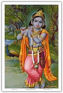 太平洋岛艺术 - 克里希纳勋爵 - 印度教神 - 印度 - 复古宗教艺术 - 大师艺术印刷品 12 x 18 in PRTB3573