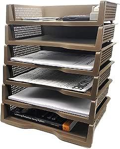 可堆叠桌面文档 信纸托盘收纳盒配件 纸盘,多层文件分类器存储纸架(棕色)