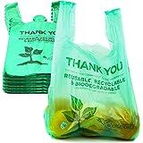 1/6 尺寸可生物降解可重复使用的塑料 T 恤袋环保可堆肥杂货购物感谢你可回收垃圾篮袋 * 1/6-500 Pack F…