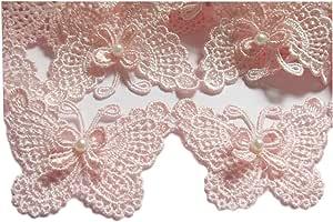 yycraft 个装蝴蝶结蕾丝边装饰丝带婚礼贴花 DIY 缝纫工艺复古装饰品工艺婚礼新娘