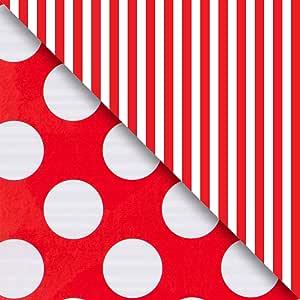 Jillson Roberts 6 卷卷双面礼品包装提供 12 种颜色组合 Jumbo Rolls Red and White Stripes/Dots