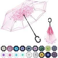 WASING 双层倒置伞汽车反向伞,防风防紫外线大直伞,C 形手柄适用于户外车雨