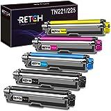 RETCH 兼容硒鼓替换件适用于 Brother TN221 TN225 兄弟 MFC-9130CW HL-3170CDW HL-3180CDW MFC-9330CDW MFC-9340CDW MFC-9342CDW (2 黑色 1 号蓝* 1 号黄色)