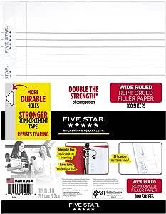 Five Star 活页纸,3孔打孔,强化衬补纸,宽直纹,10-1 / 2 x 8英寸/约26.67厘米x20.32厘米,100张/一件,1件(15000)