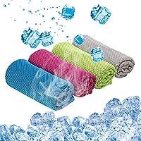 Kitmate 清凉毛巾,4 条装冰毛巾,颈部速干毛巾,40 x 12 英寸超细纤维快干毛巾,适合运动瑜伽、跑步、健身房…