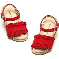 Otter MOMO 女童凉鞋露趾公主平底凉鞋带褶皱夏季凉鞋(幼儿/小童)