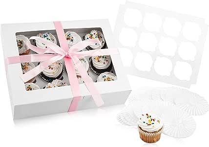烘焙纸杯蛋糕盒和蛋糕收纳架:12 个零食盒存储盒 - 一次性烘焙盒,带透明窗口,12 个可拆卸的插入物/支架,适合十个纸杯蛋糕 White Cupcake Box