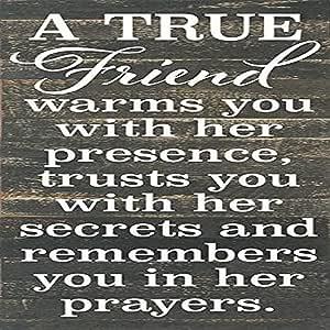A True Friend Warms You 30.48x60.96cm 木质托盘设计墙壁艺术标志 黑色 RE1034b