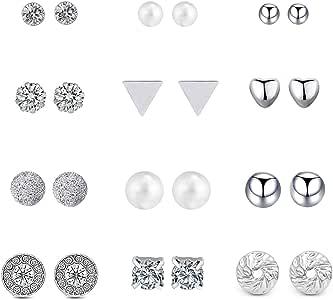 Shoopic 6/12 对各种水晶珍珠耳环女士穿孔耳钉 银色