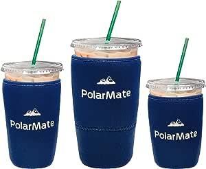 3 个装可重复使用的冰咖啡套 | 冷饮料隔热杯套 | 氯丁橡胶杯架 | 适用于星巴斯、麦克唐纳斯、邓肯甜甜圈等 *蓝 18 oz Small, 24 oz Medium, 32 oz Large