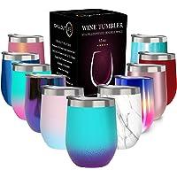 带盖不锈钢玻璃杯,双层真空绝缘葡萄酒杯 Caribbean Lily 12盎司