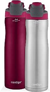 Contigo AUTOSEAL Chill 不锈钢水瓶,24 盎司,SS/Scuba & Scuba,2 只装 SS/Very Berry & Very Berry 2041388