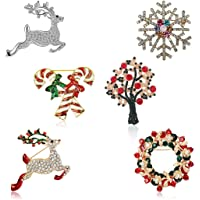 圣诞胸针套装 女式 - 6 件装 可爱水晶钻石珐琅圣诞节首饰礼品包括红色水晶驯鹿白色驯鹿糖果手杖圣诞树花环雪花别针套装