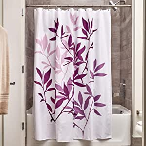 InterDesign Leaves Shower Curtain, Purple, 72-Inch by 72-Inch