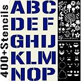 20 个模板套装字母数字用于艺术和工艺 DIY,面漆,子弹日记,记事书写,涂鸦画,装饰织物木质摇滚玻璃陶瓷 - 可重复使用的刻版模板 4x7 英寸