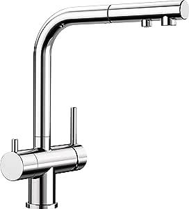 BLANCO 铂浪高 FONTAS-S II Filter 厨房龙头 铬 525229 带有集成式滤水器及伸出式出水嘴