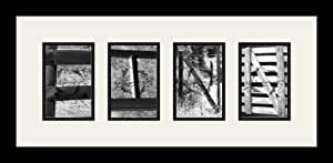 Art to Frames LetterArt-Finn-3423-61/89-FRBW26079 字母艺术/字母摄影相框 - FINN - 带 4-4x6 开口。 和缎面黑色框架