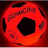 GlowCity 发光LED 足球闪耀红色版|夜光发光,带高亮 LED